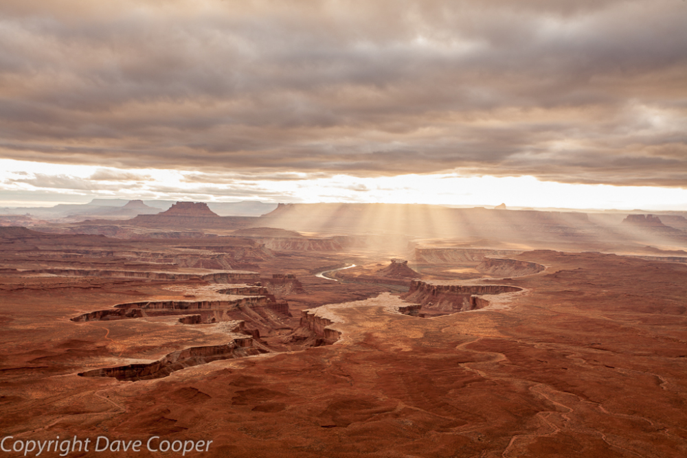 Setting sun from the Green River Overlook, Canyonlands National Park, Utah