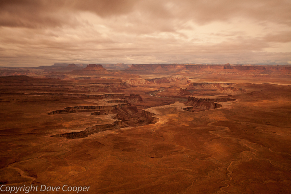Nighttime long exposure of moonbeams playing across the Landscape, Green River Overlook, Canyonlands
