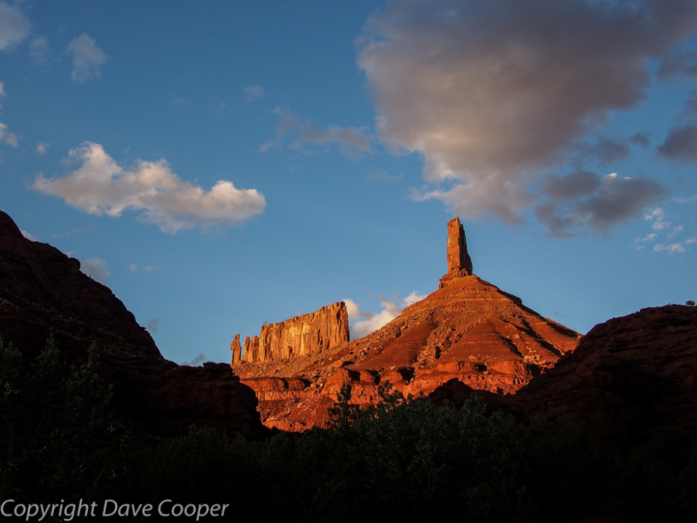 Sunset on Castleton Towerand the Rectory, Castle Valley, Utah