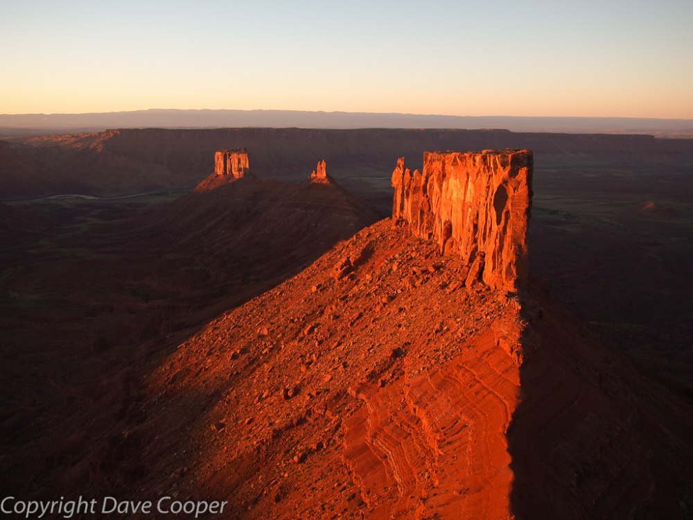 Sunset view from the summit of Castleton Tower, Castle Valley, Utah