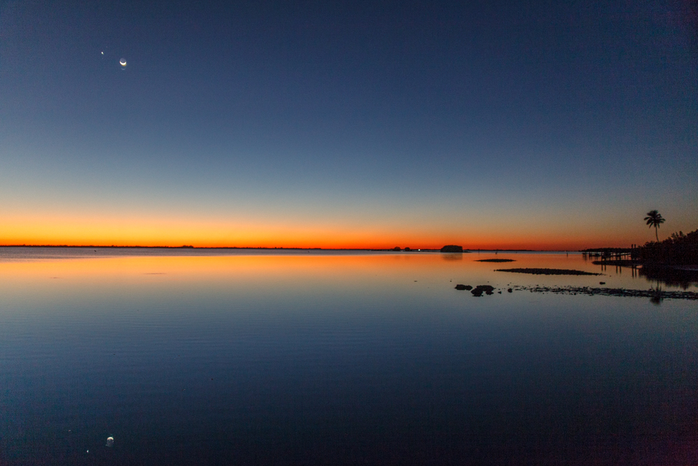Moon and Venus Reflection, Pine Island, Florida
