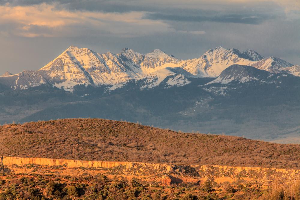 La Plata Range from Mesa Verde Mountains and desert sunset