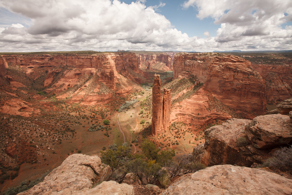 Spider Rock, Canyon de Chelly, Arizona clouds dramatic light