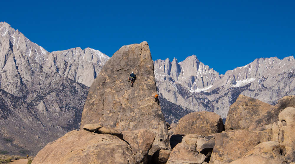 Rock climbers Alabama Hills Sharks Fin and Mt. Whitney Sierras
