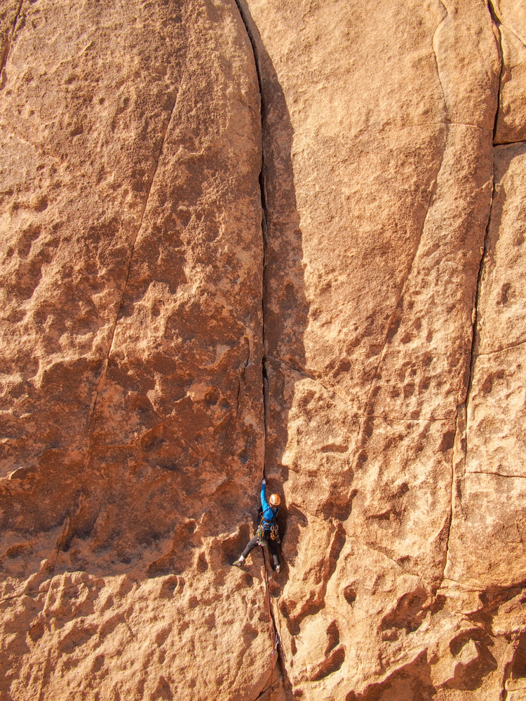 Meredith climbing Gem Crack, Joshua Tree National Park