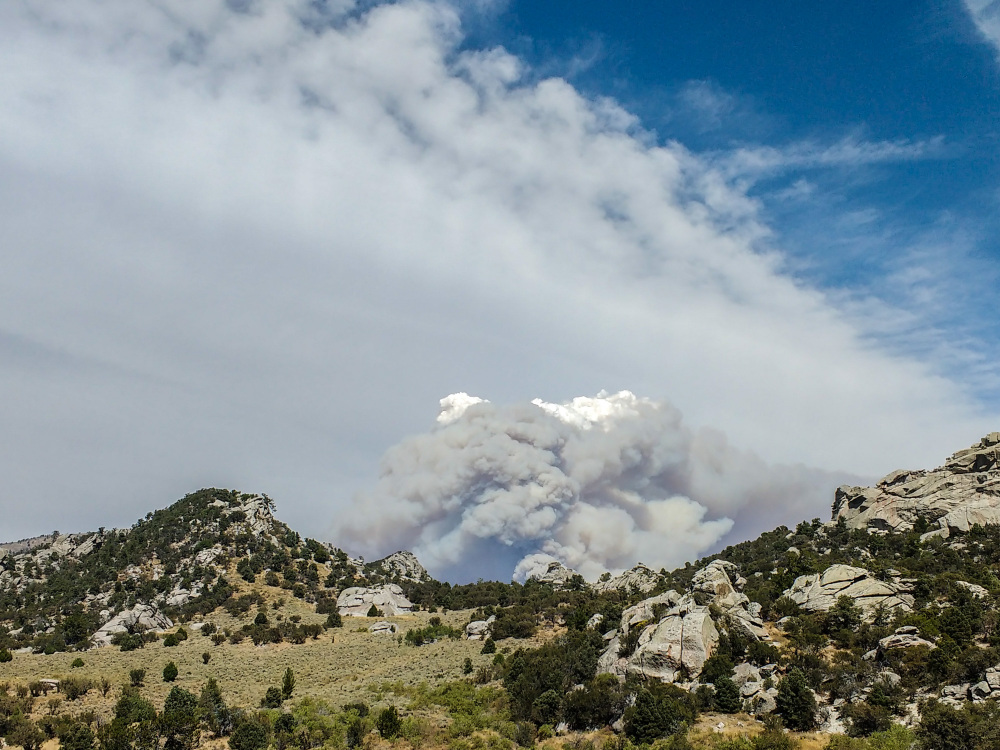 Forest fire near City of Rocks